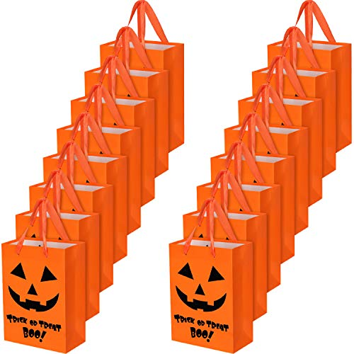 Halloween Lanterns Paper Bags (Blulu Halloween Treat Bags Tote Paper Bags Pumpkin Bags Trick or Treat Gift Bags Candy Bag with Handle for Halloween Jack-O-Lantern Party Favors (16)