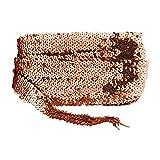 Mandala Crafts - Lentejuelas elásticas de lentejuelas planas con purpurina, cinta de tela de lentejuelas, encaje metálico para adorno de vestidos, diadema, Cobre, 2.54cm (1''), 1