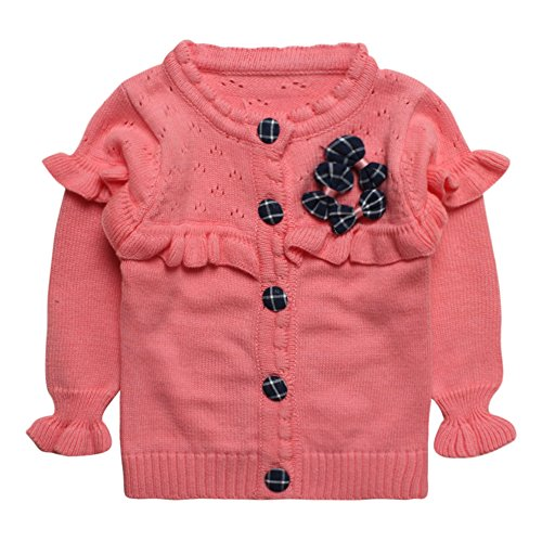 Little Girls' Baby 100% Cotton Puff Sleeves Cardigan Sweater Size 2T Pink