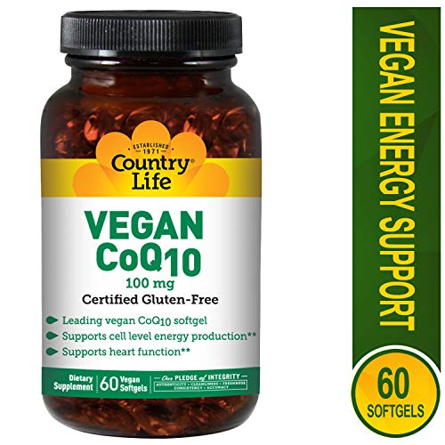 Country Life Vegan CoQ10 100 mg - 60 Vegan Softgels -Supports Cell Level Energy Production - Supports Heart Function