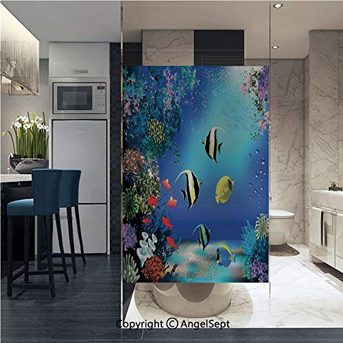 (AngelSept Non-Adhesive Privacy Window Film Tropical Undersea with Colorful Fishes Swimming in The Ocean Coral Reefs Artsy Image Door Sticker Glass Film 22.8 in. by 35.4in. (58cm by 90cm),Blue)