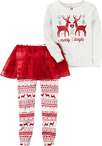 Carter's Girls' 12M-8 3 Piece Reindeer Tutu Pajamas Red 2T ()