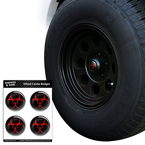 Zombie Outbreak Response Vehicle Biohazard Red Tire Wheel Center Cap Resin-Topped Badges Stickers - 2.4