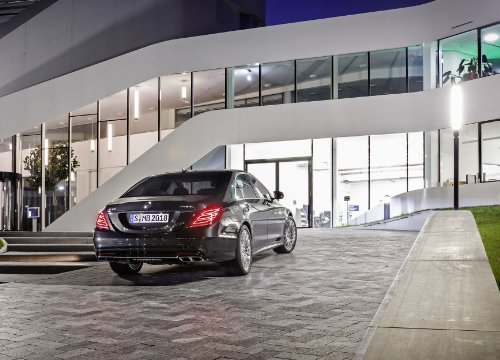 S65 Car - Mercedes-Benz S65 (W222) AMG (2013) Car Art Poster Print on 10 mil Archival Satin Paper Black Rear Side Static View 36