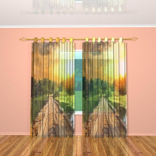 IrisUSA One Panel 100% Polyester Wooden Bridge Sunset Nature Themed Room Darkening Curtain Window Drape For Home Decor, Transparent (53