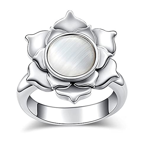 Opal Lotus Ring EVBEA Antique Statement Layered Flower Halo Rings for Women(9) (Antique Ring Band)