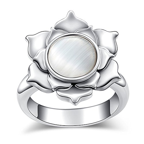Opal Lotus Ring EVBEA Antique Statement Layered Flower Halo Rings for Women(7)