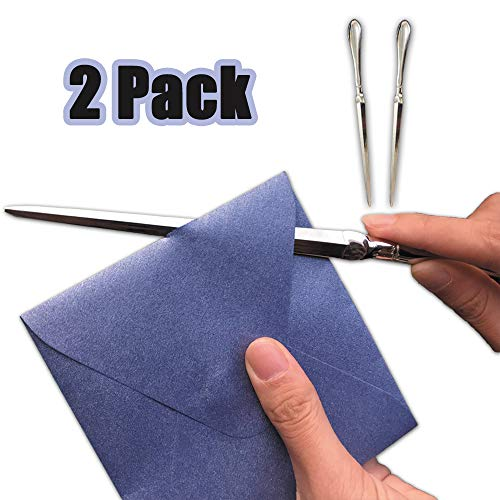Letter Opener Metal Mail Opener 2 Pack - Hand Envelope Slitter Knife Tools Craft Knives Fit Open Letters for Perfect Office Supplies Custom Gift Idea, 9 inches Silvery by LTLR]()