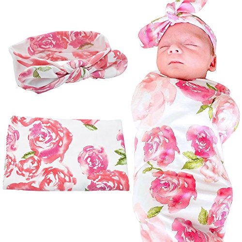 Baby Receiving Blankets Matching Swaddle and Headband Set, Newborn Baby Swaddle and Headband Set Blankets (Pink -