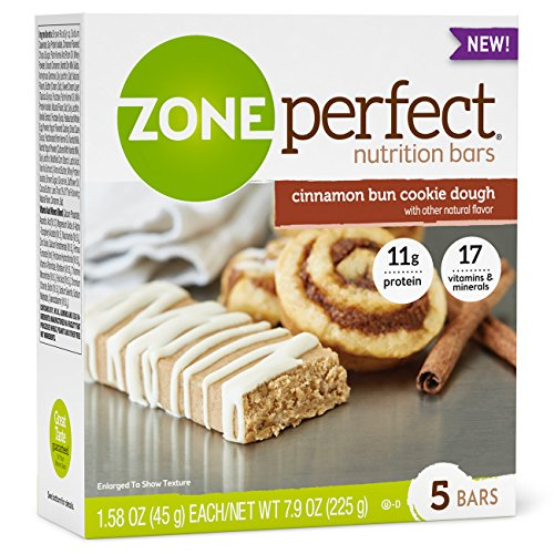 ZonePerfect Nutrition Snack Bars, High Protein Energy Bars, Cinnamon Bun Cookie Dough, 1.76 Ounce Bar, 30 Count