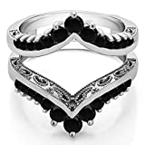 TwoBirch Filigree Vintage Wedding Ring Guard with 0.98 carats of Black Cubic Zirconia in Sterling Silver
