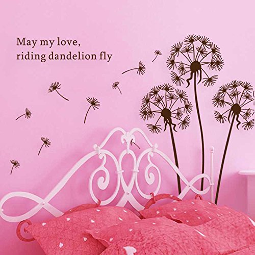 Walplus Wall Stickers Dandelion In The Wind II Removable Self-Adhesive Mural Art Decals Vinyl Home Decoration DIY Living Bedroom Office Décor Wallpaper Kids Room Gift, Multi-colour