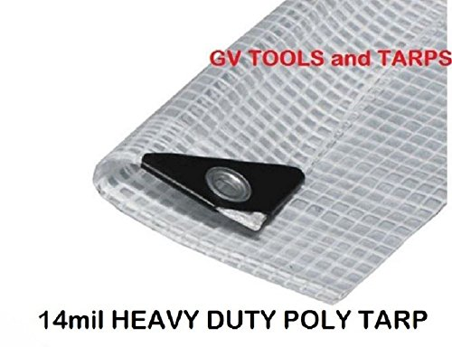 12' X 20' CLEAR HEAVY DUTY -14 mil- POLY TARP, NURSERY / GREENHOUSE/ GARDEN by Golden Valley Tools & Tarps
