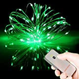 50 rice lights - HAHOME Battery Operated Christmas Fairy String Lights with Remote for Holiday Wedding Halloween Patio Party Decoration,Green