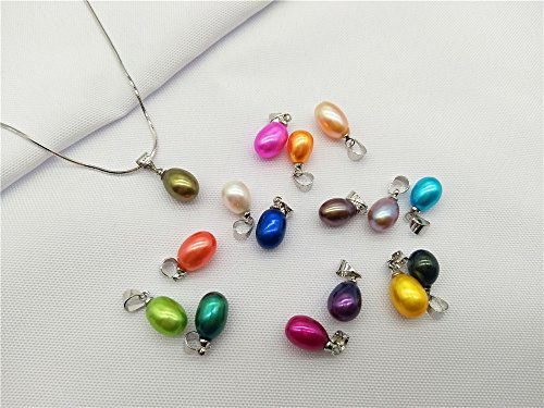 50PCS Colored Rainbow Drop Pearl Pendants 9-11mm (9mm Drop Pearl Pendant)
