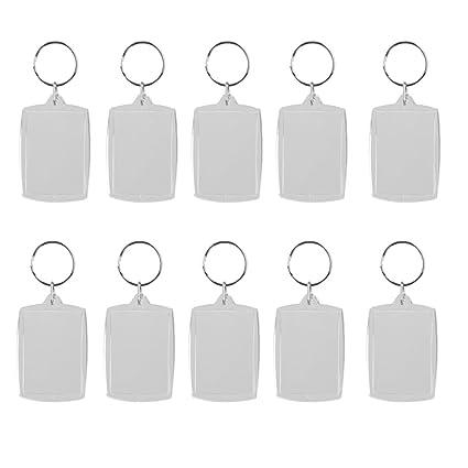 Lote de 10 llaveros con anilla y marco para fotos DIY, rectangular 4 x 5