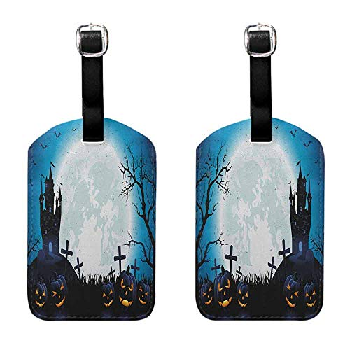 Luggage Tags 2 Pcs Set Halloween,Spooky Concept with Scary Icons Old Celtic Harvest Figures in Dark Image Holiday Print, Blue Baggage Name Tag
