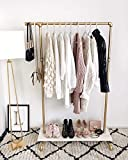 BOSURU Industrial Pipe Clothing Rack Wooden Garment Rack with Shelves Retail Clothes Display Racks for Boutiques Gold