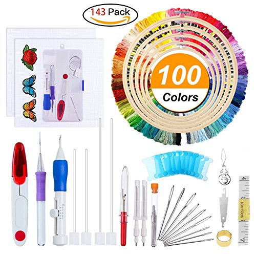 WeeDee Full Range of Embroidery Starter Kit Including Magic Embroidery Pen Punch Needle,5 Pieces Bamboo Embroidery Hoops, 100 Color Threads,Embroidery Needles Stitching Punch Pen Set Craft Tool for Em