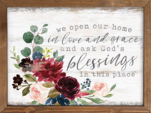 P. GRAHAM DUNN Open Home in Love Grace God's Blessings Floral 16 x 12 Inch Pine Wood Framed Wall Art Plaque ()