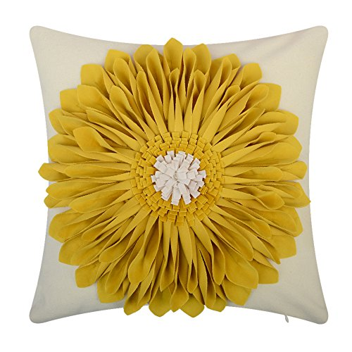 OiseauVoler 3D Sunflowers Embroidered Throw Pillow Cases Handmade Decorative Cushion Covers for Home Sofa Car Bed Room Decor 18 x 18 Inch