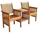 LuuNguyen Outdoor Hardwood Tete a Tete Bench Natural Wood Finish