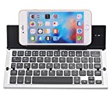Tekit Portable Ultra-Slim Aluminum Wireless Bluetooth3.0 Foldable Keyboard with with Tablet/Phone Stand Universal for/Windows / iOS/Mac / Android Tablet/Smartphone (Silver)