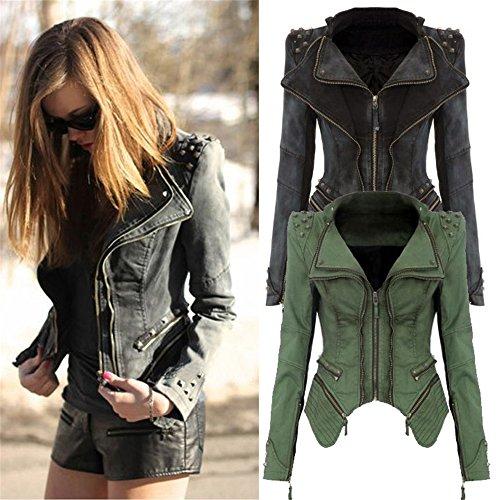 Rivet Femme Automne Mode Up 2016 Soirée Manteau Cravog Coat Zipper Denim Jacket Jean Rockabilly De Noir Veste Epaulette Printemps q7I5WxnxwT