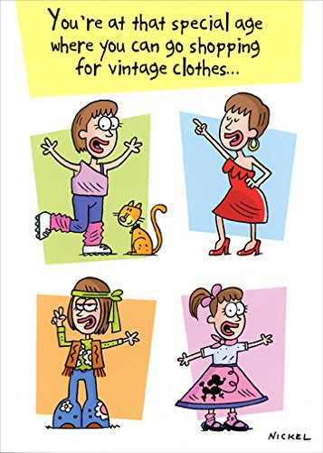 Shopping For Vintage Clothes - Oatmeal Studios Funny Feminine Birthday Card
