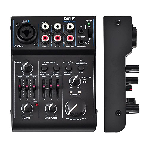 free shipping pyle bluetooth 3 channel audio mixer usb audio interface 18v phantom power. Black Bedroom Furniture Sets. Home Design Ideas