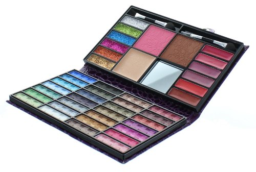 Beauty Revolution 43 Color Makeup Purse With 28 Eyeshadow 1 Blush 1 Press Powder 6 Glitter 6 Lip Gloss 1 Bronzer All In One Foldable Palette (Lavender)