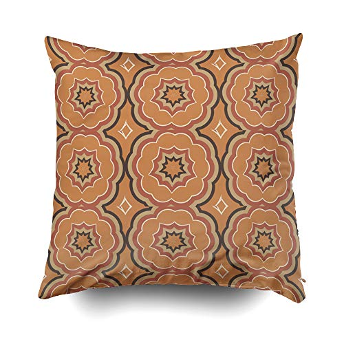 EMMTEEY Home Decor Throw Pillowcase for Sofa Cushion Cover,Autumn Pumpkin Spice Kaleidoscope with Cream Decorative Square Accent Zippered and Double Sided Printing Pillow Case Covers ()