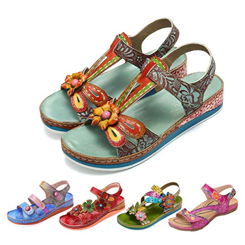 Camfosy Leather Sandals for Women, Summer Flat Sandals Vintage Handmade Flower Pattern Low Wedge Platform Shoes Beach Non Slip Slippers Blue 10 M US