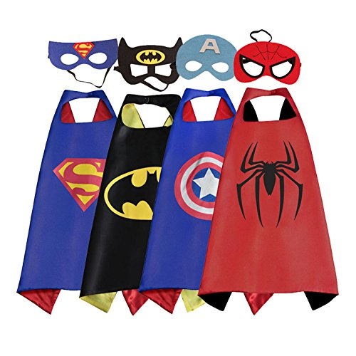 8 Year Old Costumes (RioRand Cartoon Dress Up Costumes Satin Capes With Felt Masks for Children (4PC-CAPE))