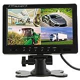 Podofo@ 9 inch HD 12V 24V Split Quad Monitor Car Headrest Display 4CH Video Input For Back Up Camera Truck RV & CCTV Surveillance Security System