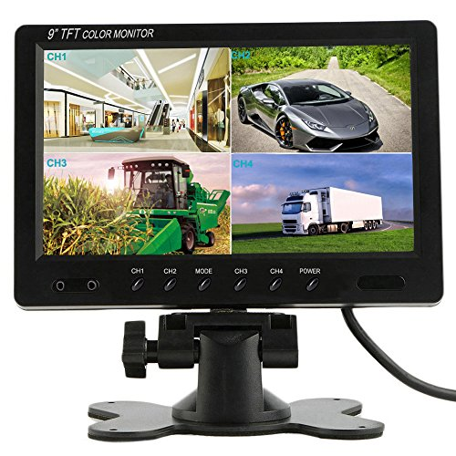 Podofo@ 9 inch HD 12V 24V Split Quad Monitor Car Headrest Display 4CH Video Input For Back Up Camera Truck RV & CCTV Surveillance Security System by podofo
