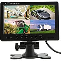 Podofo@ 9 inch HD 12V 24V Split Quad Monitor Car Headrest Display 4CH Video Input For Back Up Camera Truck RV & CCTV Surveillance Security System