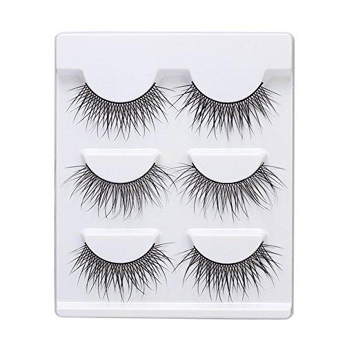 NewKelly Soft 3 Pairs Long Makeup Cross Thick False Eyelashes Eye Lashes Nautral