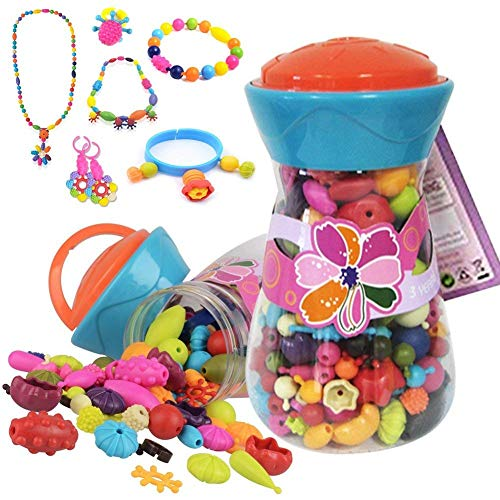 (Alens diy-jewelry-300pcs Pop Snap Beads Set Creative DIY Jewelry Making Kit for Necklace, Ring, & Bracelet for Ages 3 & Up(200 Pcs),)