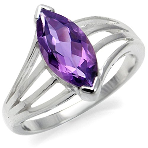 1.9ct. Natural February Birthstone Amethyst 925 Sterling Silver Solitaire Ring Size - Ct Natural 1.9