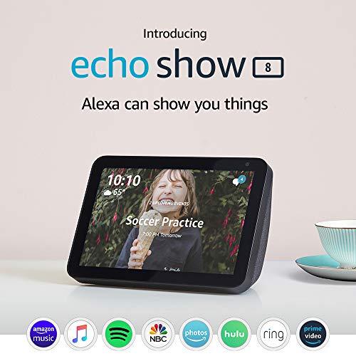 Echo Show 8 Charcoal with Adjustable Stand and Amazon Smart Plug