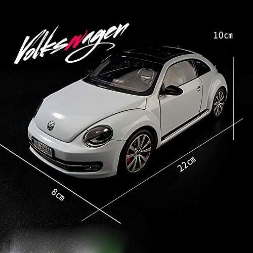 ジャワジ ビートルカーモデルクラフト装飾品1:18シミュレーション合金クラシックカー玩具モデルコレクションエッセンシャルホワイト、イエロー (Color : White)