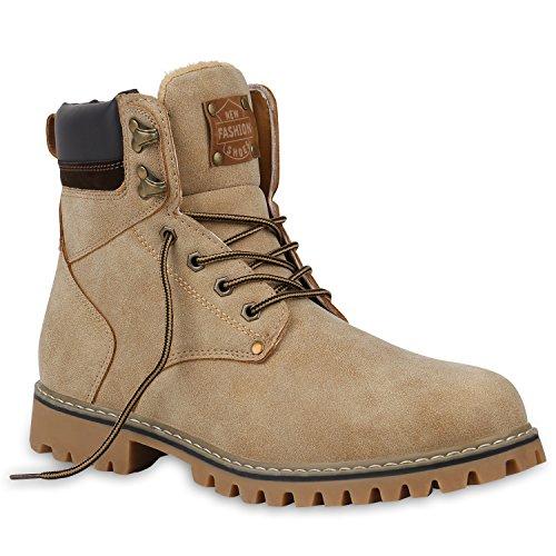 Stiefelparadies Herren Worker Boots Profilsohle Stiefeletten Gefütterte Outdoor Schuhe Schnürboots Wildleder-Optik Nieten Camouflage Flandell Creme Camiri
