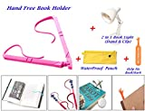 Book Holder for Reading Hands Free Adjustable Size (Easy to Turn Page) Set with 2 in 1 LED Book Light Clip on & Stand (Battery Operated) in Water Proof Zipper Pouch and Free Help Me Bookmark