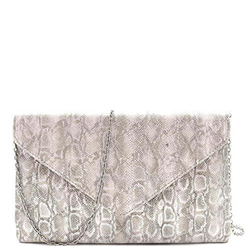 Snake Print Soft PU Leather Envelope Clutch Bag with Crossbody Chain Strap (Envelope Style - Silver)