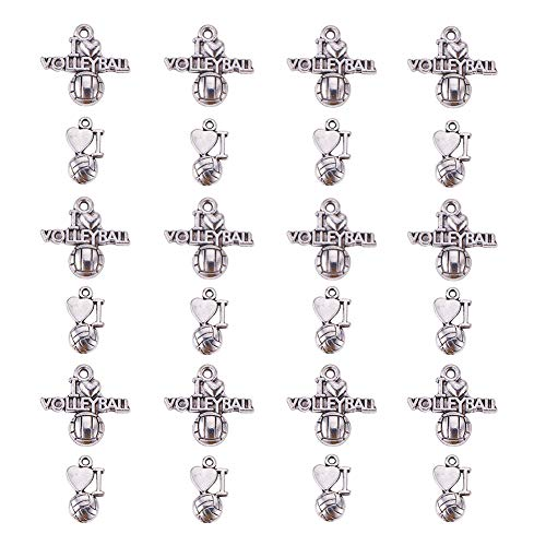PH PandaHall 60pcs 2 Styles Antique Silver Tibetan Alloy Love Volleyball Ball Sports Fitness Charms Pendants Beads Charms for DIY Bracelet Necklace Jewelry Making