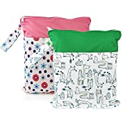 Baby Wet/Dry Bag Splice Cloth Diaper Waterproof Bags with Zipper Snap Handle Pack of 2 (Daisy and the Fox)