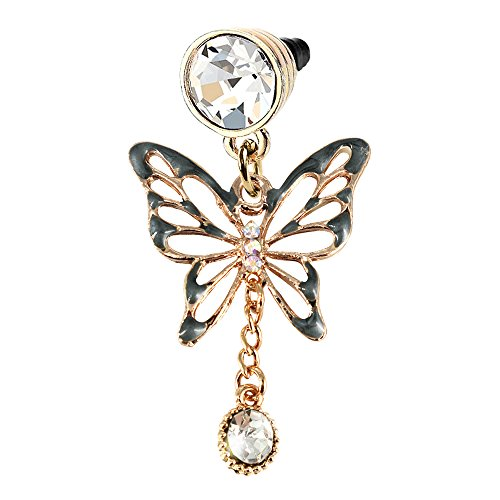 (Elegant Black Butterfly Crystal Dangle Phone Charm Anti Dust Plug in Monnel Velvet Bag MP763)