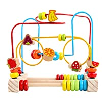 GEMEM Bead Maze Roller Coaster Wooden Beads Abacus Circle Educational My First Toy Cube Gift for Baby Toddlers Kids
