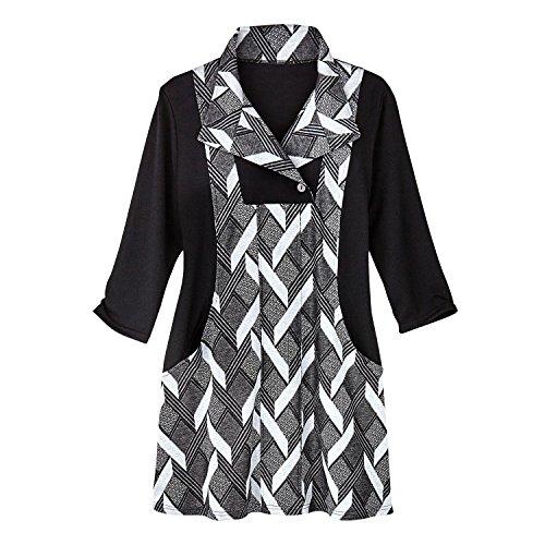 CATALOG CLASSICS Women's Tunic Top - Faux Basketweave Knit Jumper - Retro Mod Style - - Weave Print Basket Shirt